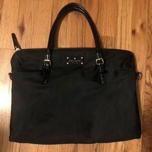 Kate Spade Black Patent & nylon laptop tote bag